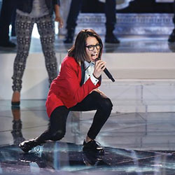 "Credit: NBC Michelle Chamuel performing on ""The Voice"""