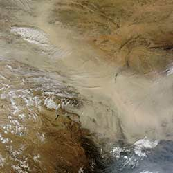 Dust storms in the Gobi Desert