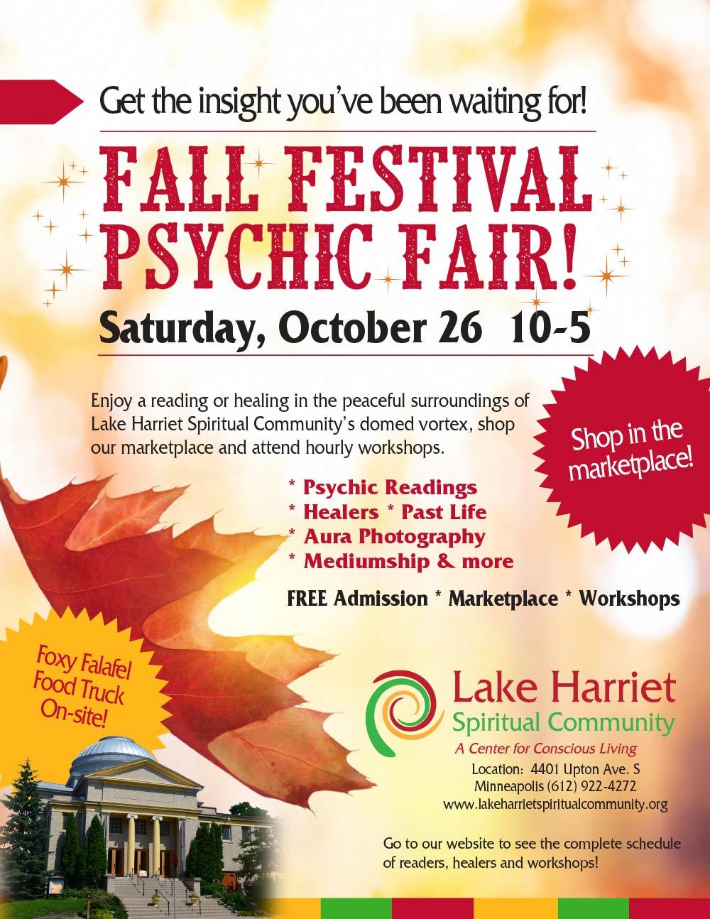 Lake Harriet Spiritual Community Fall Festival Psychic Fair @ Lake Harriet Spiritual Community | Minneapolis | Minnesota | United States