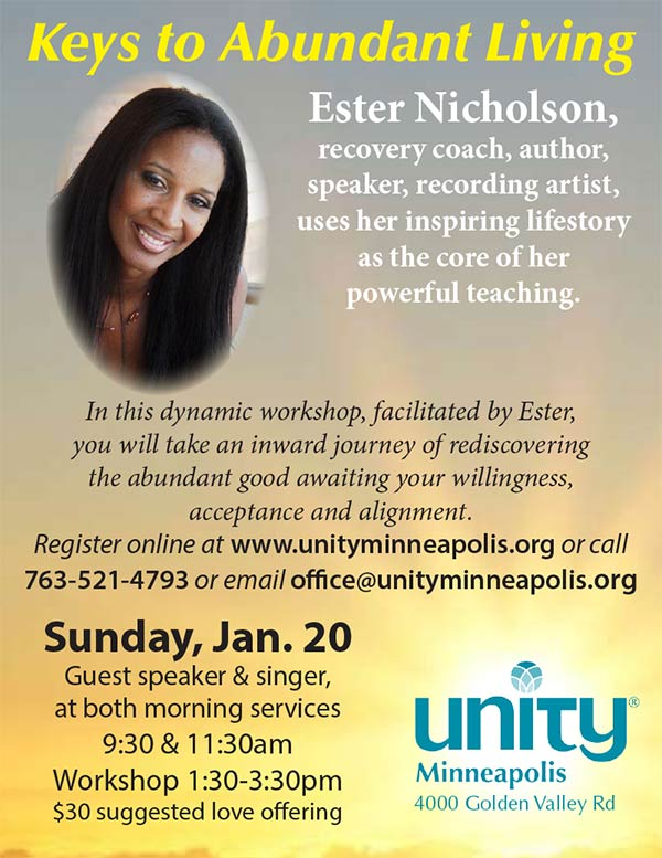 Ester Nicholson & Keys to Abundant Living™ @ Unity Minneapolis | Golden Valley | Minnesota | United States