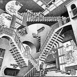 """Relativity"" by M.C. Escher"